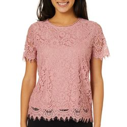 Leighton Juniors Solid Lace Short Sleeve Top