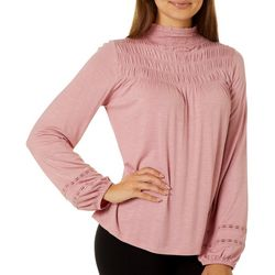 Juniors Solid Smock Neck Long Sleeve Top