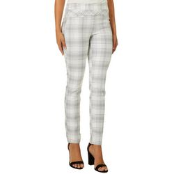 Leighton Juniors Fine Plaid Print Skinny Fit Pull On Pants
