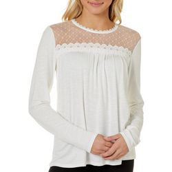 Leighton Juniors Solid Lace Yoke Long Sleeve Top