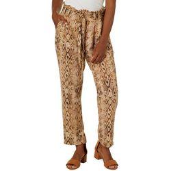 Leighton Juniors Snakeskin Print Paperbag Waist Gaucho Pants