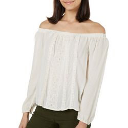 Leighton Juniors Solid Crochet Detail Off The Shoulder Top