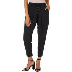 Jolie & Joy Juniors Solid Faux Button Belted Pants