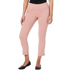 Juniors Polka Dot Pull On Ankle Pants