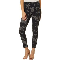 Juniors Shadow Floral Print Pull On Pants
