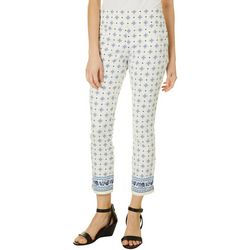 Juniors Floral Border Pull On Ankle Pants