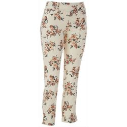 Juniors Floral Print Pull On Pants