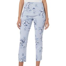 Joe Benbasset Juniors Floral Pinstripe Pull On Pants