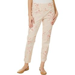 Juniors Floral Stripe Pull On Ankle Pants