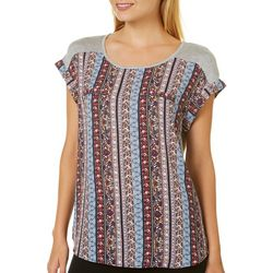 A. Byer Juniors Boho Striped Pocket Top