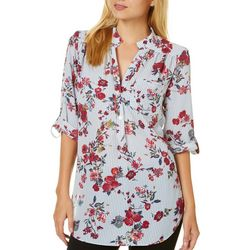 A. Byer Juniors Floral Striped Roll Tab Top