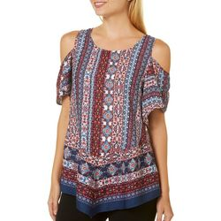 A. Byer Juniors Boho Cold Shoulder Top