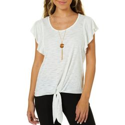 A. Byer Juniors Necklace & Heathered Tie Front Top