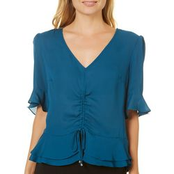 A. Byer Juniors Solid Ruched Ruffle Top