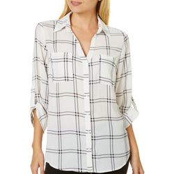 A. Byer Juniors Button Down Plaid Print Top