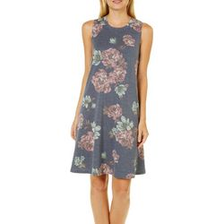 A. Byer Juniors Faded Floral Knit Shift Dress