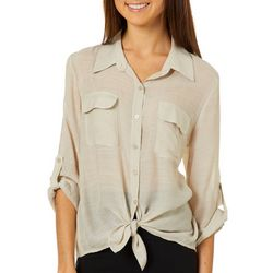 A. Byer Juniors Solid Button Down Tie Front Top