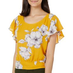 A. Byer Juniors Cropped Floral Banded Waist Tie Back Top