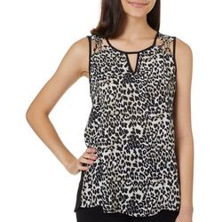 A. Byer Juniors Cheetah Print Lattice Detail Sleeveless Top