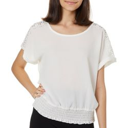 A. Byer Juniors Solid Lace Shoulder Short Sleeve Top