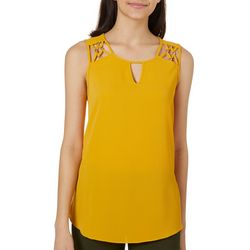 A. Byer Juniors Solid Lattice Detail Keyhole Sleeveless Top