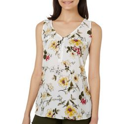 A. Byer Juniors Floral Print Zip Placket Sleeveless Top