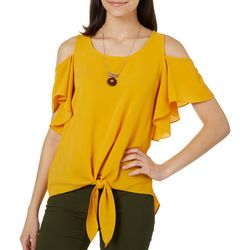 A. Byer Juniors Necklace & Solid Cold Shoulder Top