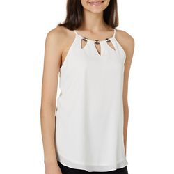 A. Byer Juniors Solid Ring Detail Keyhole Sleeveless Top