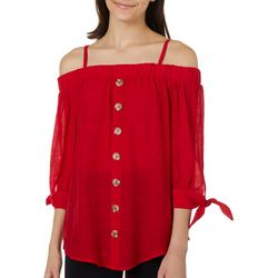 A. Byer Juniors Solid Cold Shoulder Woven Button Down Top