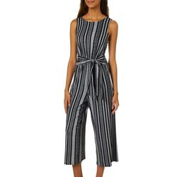 A. Byer Juniors Striped Tie Waist Sleeveless Jumpsuit