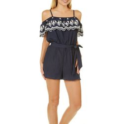A. Byer Juniors Floral Embroidered Cold Shoulder Romper