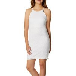 A. Byer Juniors Scalloped Trim Lace Sheath Dress