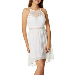 A.Byer Juniors Lace Halter Hi-Lo Dress