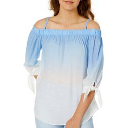 A. Byer Juniors Dip Dyed Cold Shoulder Top