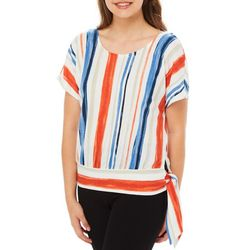 A. Byer Juniors Striped Cross Back Side Tie Top
