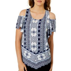 A. Byer Juniors Tile Print Cold Shoulder Top