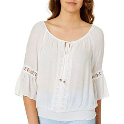 A. Byer Juniors Crochet Bell Sleeve Peasant Top