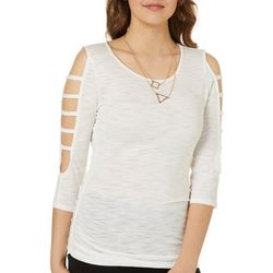 A. Byer Juniors Necklace & Caged Heathered Top