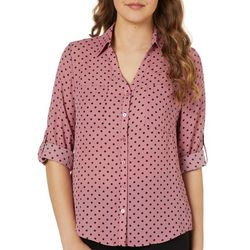 A. Byer Juniors Dot Print Button Down Top