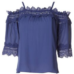 Juniors Lace Trim Solid Top