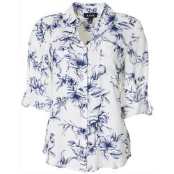 Juniors Floral Print Button Down Top