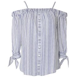 Juniors Stripes Off The Shoulder Tied 3/4 Sleeve Top