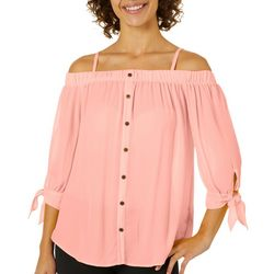 A. Byer Juniors Off The Shoulder Tied 3/4 Sleeve Top