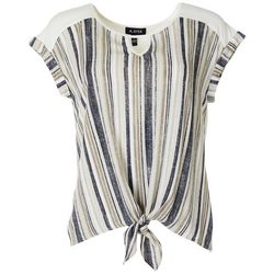 Juniors Striped Tie Front Cuffed Sleeves Top
