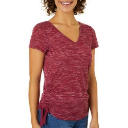 A. Byer Juniors Heathered Side Ruched Top