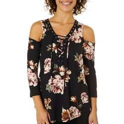 A. Byer Juniors Floral Lace-Up Cold Shoulder Top