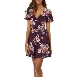 A. Byer Juniors Floral Print Faux-Wrap Dress