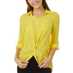 A. Byer Juniors Solid Button Down Twist Front