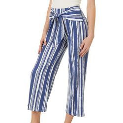 Juniors Striped Wide Leg Tie Waist Pants
