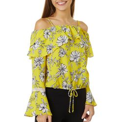 Juniors Floral Print Bell Sleeve Cold Shoulder Top